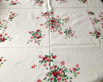 "Vintage Wilendure Princess Rose Tablecloth 53"" x 66"""