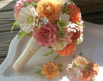 Paper Flower Bouquet - Paper Bouquet - Wedding Bouquet - Shades of Peach and Pink with Country White - Custom Made - Any Color