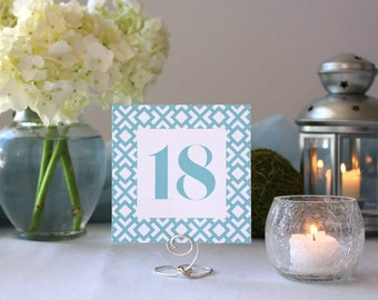 Double-Sided Modern Romantic Table Number Geometric Pattern Blue Art Deco Wedding Table Marker