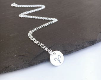 Aries zodiac symbol necklace, sterling silver Aries star sign pendant, hand stamped Aries charm necklace, gift for teenager, April birthday