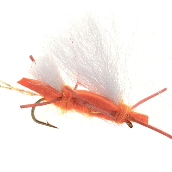 Hand Tied Trout Flies: Chubby Chernobyl Ant Dry Fly - Orange - Hook Size 10