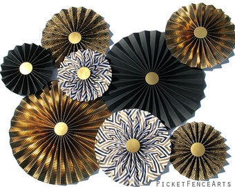 Gold, Black, Paper Rosettes, Paper Fans Backdrop, Gold and Black, Art Deco, Set of 8