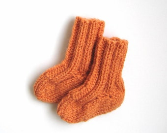 Hand Knit Newborn Infant Socks, Size 0 to 3 Months, Child Booties, Orange Warm Winter Clothing, Baby Boy or Girl Handmade Baby Shower Gift