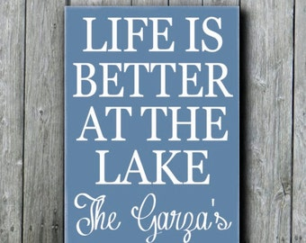 Lake House Decor,Personalized Lake Sign,Life Is Better At The Lake Sign,Rustic Lake Sign With Family Name,Lakeside Living Cottage Style