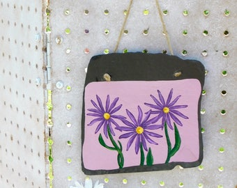 Purple Daisy Flower Painting, Handpainted Floral Wall Hanging, Rustic Garden Patio Decor, Three Purple Flowers, Boho Floral Art, Garden Art