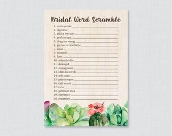 Succulent Bridal Shower Word Scramble - Printable Rustic Bridal Shower Game - Green Succulent Cactus Bridal Shower Word Scramble 0025