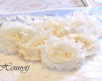 Set of 6 - CREAM Shabby Frayed Vintage look Chiffon Rosette Flowers. DIY Supplies. Soft Chiffon Flowers.