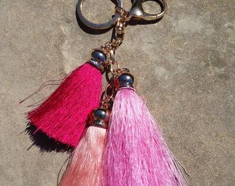 Hot pink Pom Pom key chains