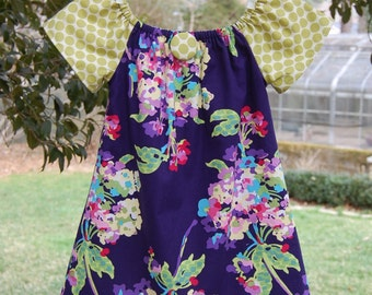 Handmade Clothing for Baby / Toddler / Girl  peasant style dress / clothing  Amy Butler Water Bouquet fabric