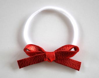 Red PATENT LARGE Leather Bow One Size Fits All Elastic Adorable  Photo Prop for Newborn Baby Little Girl Child Adult 4th of July Headwrap