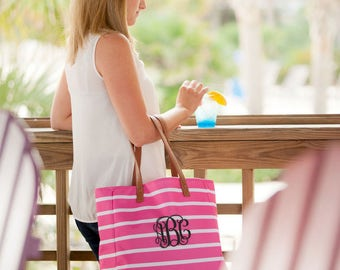 Monogrammed Striped Tote Hot Pink..Personalized Tote..Carryall..Beach Bag..Striped Bag