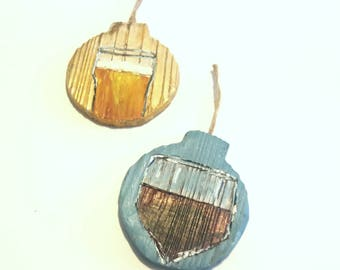 Beer, Wine, Ornament Set, Wooden, Christmas Tree Ornaments
