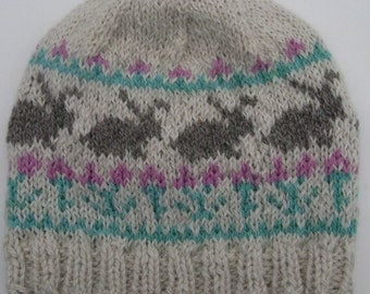 Knitted Winter Beanie, Fair Isle Alpaca Wool Hat, Medium to Large Bunny, Easter Hat for Men and Women
