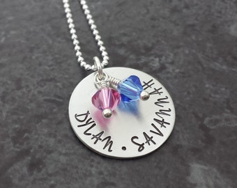 Personalized Mom Necklace - Kids Name Necklace - Hand Stamped Necklace - Sterling Silver Mom Jewelry