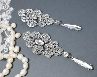 Vintage Chandelier Earring, Wedding Earring, Drop Dangle Earring, Wedding Earring, Vintage Long Earring, Bridal Earring