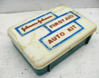 Vintage Auto First Aid Kit - Contents - Hobby Bin Gadget Box - Johnson and Johnson - Car First Aid Kit - Small First Aid Kit