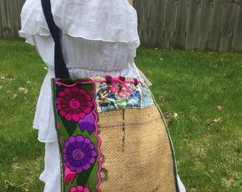 Colorful roses Mexican bag Day of the dead