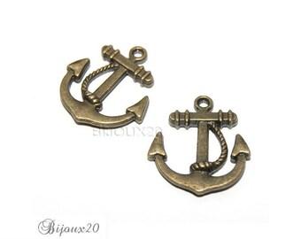 2 pendant M01832 10 23mm bronze ship anchor charms