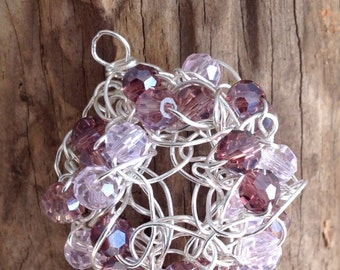 Crochet wire pendant, pink and purple beaded, crochet pendant, crochet jewelry, wirework, crochet wire jewelry, crochet wire, beaded crochet