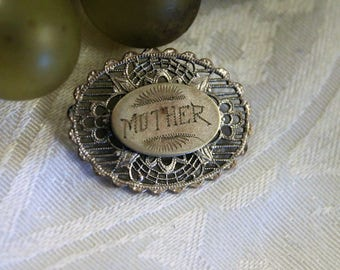 Antique Silver Mother Brooch or Pin
