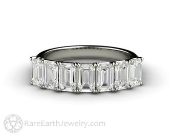 Emerald Cut Stackable Ring Moissanite Ring Forever One Anniversary Band Stacking Wedding Band