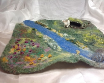 Waldorf inspired wool play mat,Felted mat,Land scape