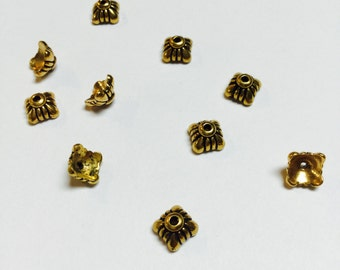 Gold Plated Pewter Bead Caps - 10 Pieces - #596
