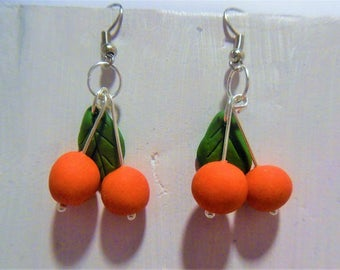 Cherry earrings polymer clay