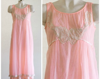 1960s pink chiffon nightgown with cream lace