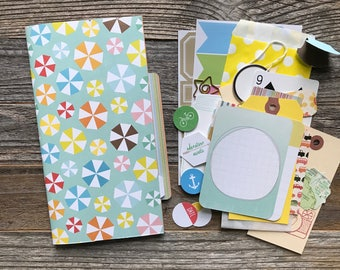 Travel Journal with Kit, Midori Insert, Smash Book, Mixed Media Journal, Travelers Notebook Insert, Refill Insert, Planner Supplies