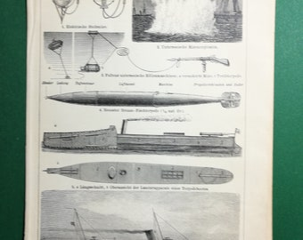Torpedos and Sea Mines, original old print from an old german book, 1895