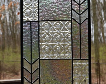 Leaded clear stained glass panel with iridescent glass, natural silver, 9.5 x 18