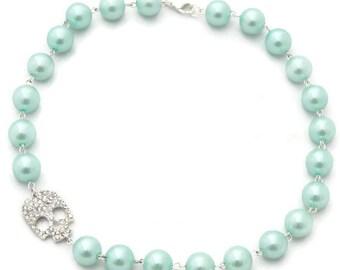 Rockabilly Aqua Pearl and Rhinestone Skull Necklace, Retro Pinup Jewelry