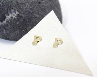 Initial Stud Earrings Small Letter P Stud Earrings