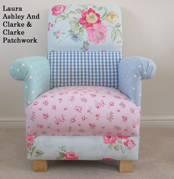 Laura ashley blue duck egg gingham fabric patchwork chair gumiabroncs Choice Image