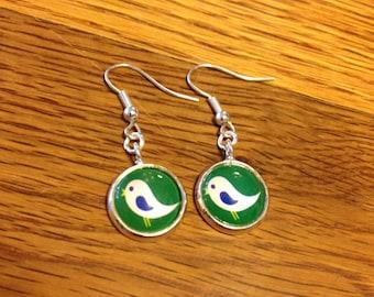 Tiny Bird Cabochon Hook Earrings