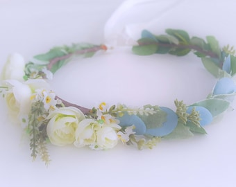 Flower Crow-Flower Headband-Bridesmaid Flower Crown-Wedding Flower Crown-Prom Flower Crown-Kids Halo-Kids Flower Headband-Adult Flower Crown