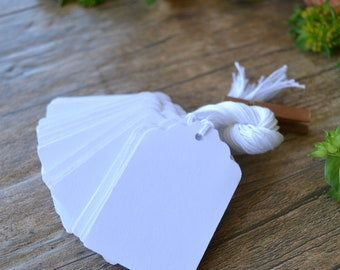 white bulk scalloped hang tags with string, white bulk price tags, white bulk favor tags, white bulk wedding favor tags- 50 tags