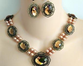 Renaissance Necklace, Earrings, Medieval Necklace, Tudor, Medieval Jewelry, Renaissance Jewelry, GOT, Lady Amanda, Maderia, Ready 2 Ship