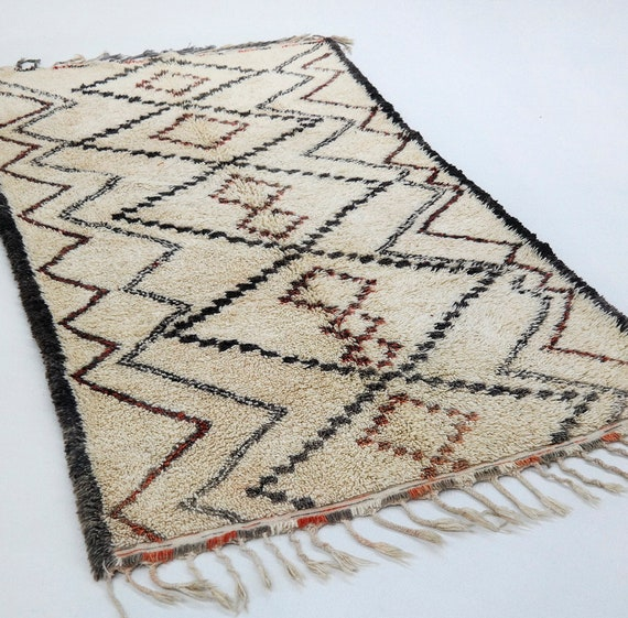 Beni Ourain Rug Vintage Moroccan Berber Rug Wool Morocco