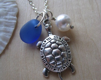 Sea Turtle Jewelry Sea Glass Necklace  Personalized Hand Stamped Necklace Cobalt Blue Beach Glass Bridesmaids Jewelry Beach Wedding Gift