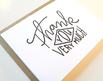 Thank You Very Much Diamond Letterpress Card
