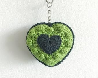 Crocheted Green Bobble Heart Keychain