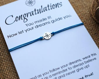 Graduation Gift College Graduation Compass Bracelet Congratulations Card Inspirational Gift for Him Her Wishing Bracelet Personalized gift