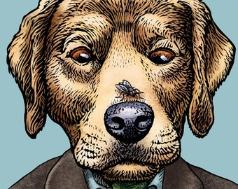 "William Golding Retriever- 8"" x 10"" Golden Retriver Art- Dog as Author William Golding- Lord of the Flies"