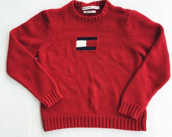 TOMMY HILFIGER Women's Large Vintage 90s Red Knit Crewneck Sweater Flag Logo EUC