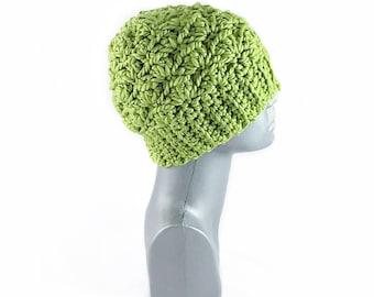 Green Chunky Crochet Hat, Yellow Green Winter Hat, Chunky Chartreuse Crochet Beanie, Warm Ski Cap