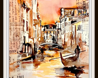 Venezia Original Watercolor Painting, Italian Cityscape, Romantic Travel Illustration by Lana Moes, Wanderlust, Italy Vacation Mementos