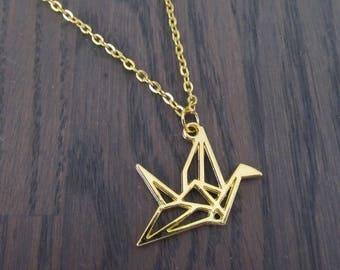 Grue d'origami de collier