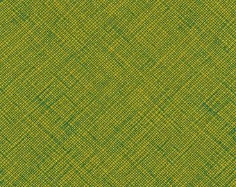 Architextures Crosshatch in Leaf, Carolyn Friedlander, Robert Kaufman Fabrics, 100% Cotton Fabric, AFR-13503-43 LEAF